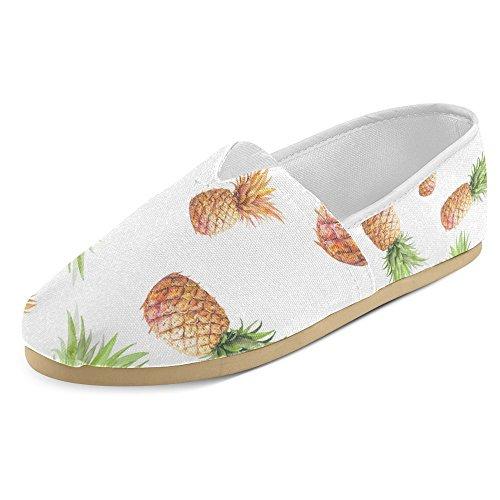 Maille Dintérêt Femmes Mocassins Classiques Toile Casual Slip Sur La Mode Chaussures Sneakers Mary Jane Plat Ananas