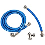 Steam Dryer Hose Installation Kit - Stainless Steel Braided PVC Coated Hoses - 6 ft Long with 90 Degree Elbow, 1 ft inlet and Y Connector