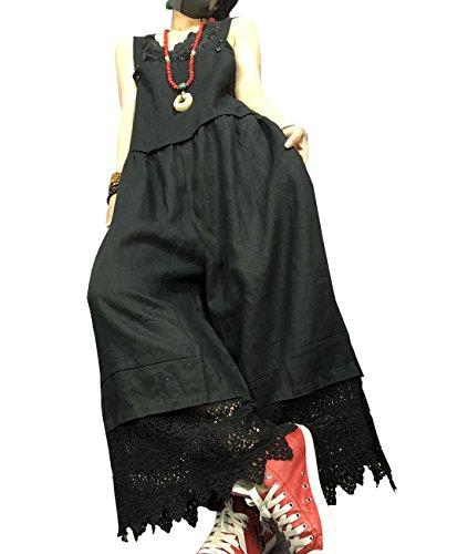 YESNO PZ6 Women Strap Rompers Jumpsuits Casual Bib Pants Boyfriend Gathered Waist Lace Hem Wide Leg