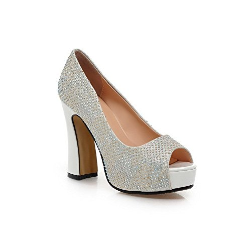 AllhqFashion Women's Pull On Peep Toe High Heels Pu Solid Sandals Silver