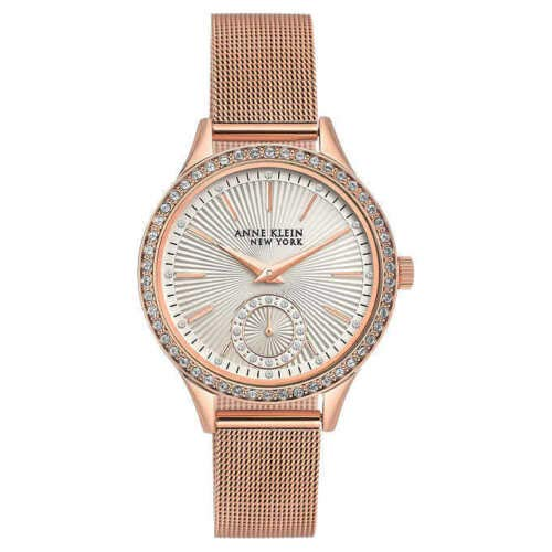 Anne Klein NY Swarovski Crystal Rose Gold Tone Mesh Ladies Watch 12/2306SVRG