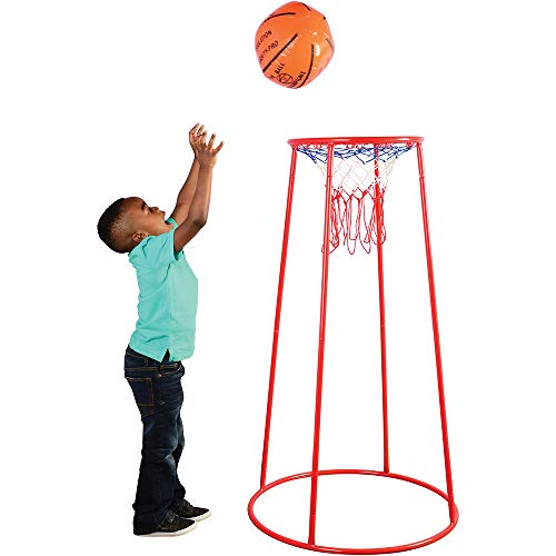 Constructive Playthings 14 Inch Portable Basketball Hoop with Heavy Duty Cord Net for Kids