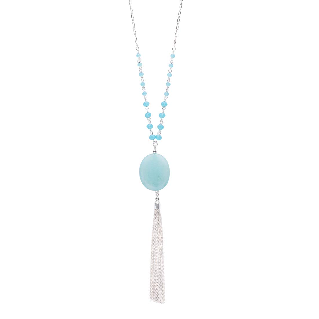 CONCISE ROYAL Light Blue Fringe Tassel Pendant Long Necklaces for Women Girls by CONCISE ROYAL