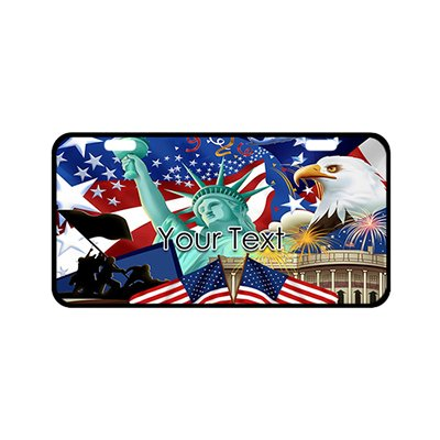 EnnE Personalized Monogrammed License Plate Cover with Your Text Custom Auto Car Tag 11.8 Inch X 6.1 Inch - American Flag Symbolizing Freedom by EnnE