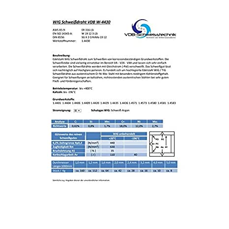 MIX Von 1.0 bis 4.0 mm WIG Schweissdraht Edelstahl 1.4430-316 1.6 /& 2.0 mm - jeweils ca. 500g