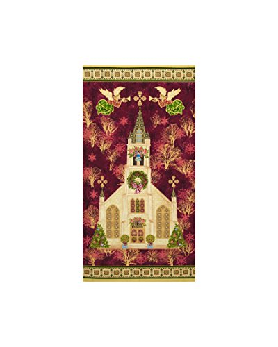 Fabri-Quilt 0436028 Silent Night Cathedral 24 in. Panel Burgundy Metallic,