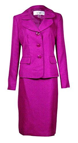 Le Suit Women's Quebec Pleated Pocket Sheen Skirt Suit (16W, Magenta)