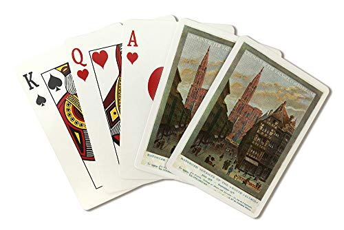 Strasbourg, France - View of Crowded Streets and Cathedral; Alsace and Lorraine Railways (Playing Card Deck - 52 Card Poker Size with Jokers)