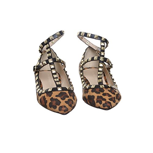 Womens Snake Studded Spike Ankle Strap Ballet Flats camelleopardsue Y96Bb
