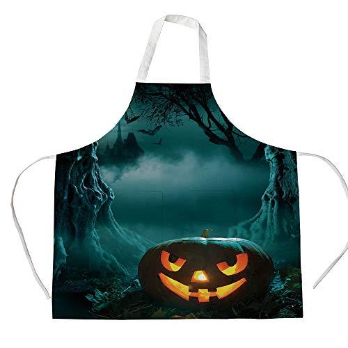 Cotton Linen Apron,Two Side Pocket,Halloween,Carved Pumpkin in Dark