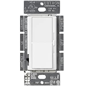 Lutron DVCL-153P-WH Diva Dimmer for CFL, LED, Halogen, and Incandescent Dimmable Bulbs, White