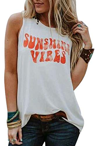 Sunshine Vibes Letter Print Vest T Shirt Women's Summer Sleeveless Graphic Tank Tops Casual Loose Workout Tees Size X-Large (White)