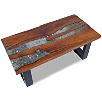 vidaXL Solid Teak Coffee Side Table Resin Mango Wood Handmade Black Paint Finish