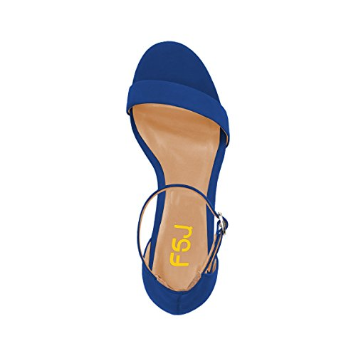 Fsj Vrouwen Zomer Ankle Strap Sandalen Open Teen Dikke Lage Hak Comfortabele Wandelschoenen Grootte 4-15 Ons Royal Blue