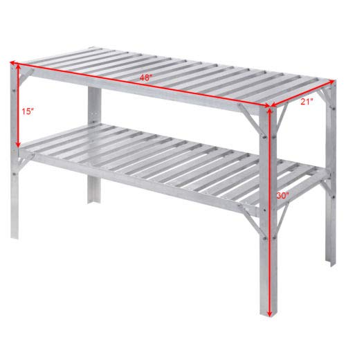 Aluminum Workbench Greenhouse Prepare Work Potting Table Storage Garage Shelves