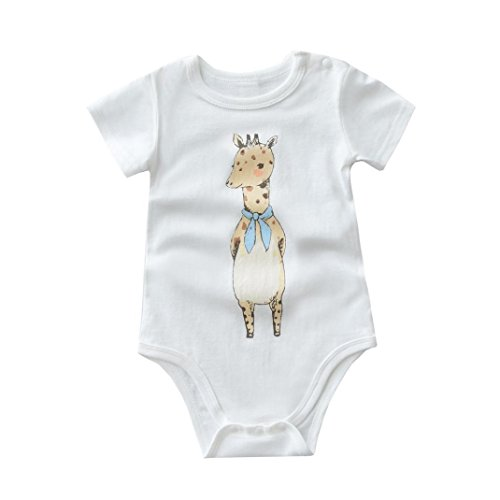 Fabal Baby Girl Short Sleeve Giraffe Romper Cartoon Jumpsuit Outfits Clothes (66, White) (Sixties Outfit)