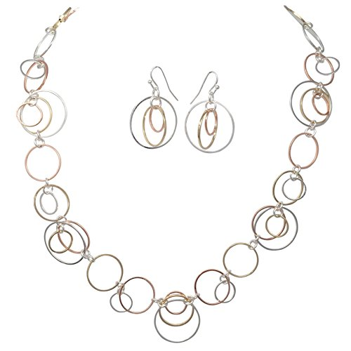 Jewel Tone Necklace Set (Thin Circles Lightweight Simple Boutique Necklace & Earring Set - Assorted Colors (Tri-Tone))