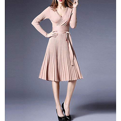 9f0e643cc44 Midi Winter Dresses for Women Spring Pleated Knit Long Sleeve V Neck Knee  Length Surplice A