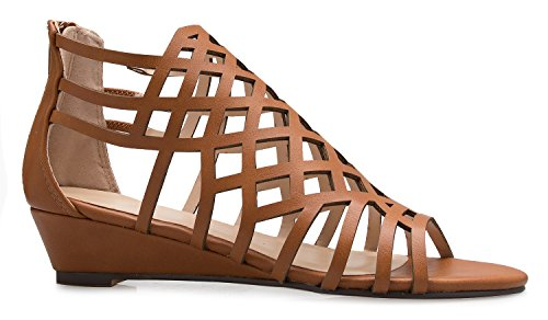 OLIVIA K Women's Strappy Wedge Sandals - Peep Open Toe Zip Closure - Kitten Low Heel