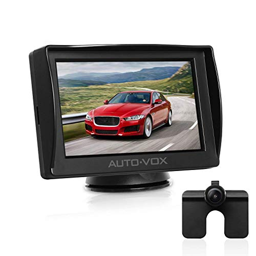 "AUTO-VOX M1 4.3"" TFT LCD Backup Camera Kit Parking Assistance System with Night Vision, Easy One-Wire Installation,HD Rear View Back Up Monitor,Waterproof License Plate Reverse Camera for Cars,Trucks"