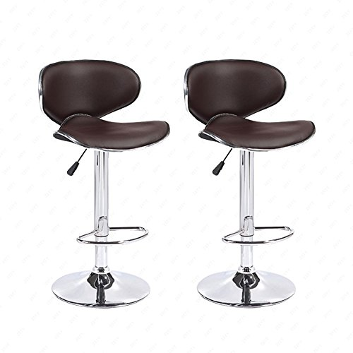 Mecor Adjustable Swivel Leather Bar Stools Hydraulic Counter Height Kitchen Dining Chairs with Chrome Base,Set of 2, Brown