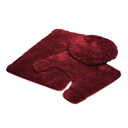 Mary 3 Piece Bathroom Rug Set, Luxury Soft Plush Shaggy Thick Fluffy Microfiber Bath Mat, Countour Rug, Toilet Seat Lid Cover, Non-Slip Rubber Back, Floor Mats Water Absorbent, Burgundy