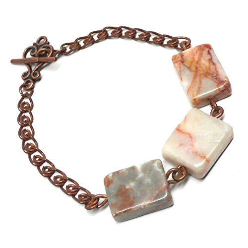 Copper-Plate Bracelet Red Marble Rectangle 7-3/8 Inches