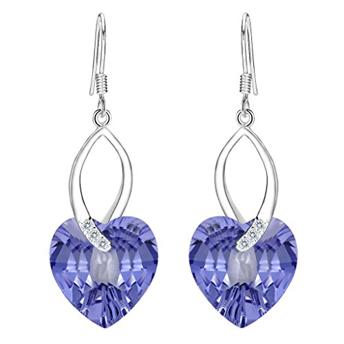 (EleQueen 925 Sterling Silver CZ Love Heart French Hook Dangle Earrings Lavender Purple Made with Swarovski Crystals)