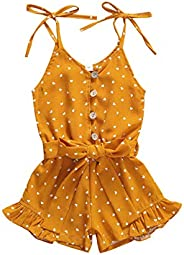 Madjtlqy Toddler Kids Girls Summer Jumpsuit Romper Ruffle Sleeveless Overall Striped Chiffon Clothes for Baby