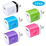 Charging Block, Charger Box, Ououdee 1A 5-Pack Travel Single Port USB Wall Charger Brick Cubes Compatible iPhone X/8/8 Plus/7/6S Plus, Samsung Galaxy s10e S10 S9 S8 Plus/S7/S6/Note 9/8, LG G8 G7, Moto