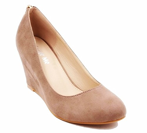 King Of Shoes Damen Sommer High Heels Keil Pumps Keilabsatz Wedges Plateau PG Khaki