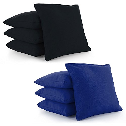 (Cornhole Bags Set of 8 by Tailor Spot Corn-Filled ACA Regulation 25+ Colors (Black-Royal Blue))