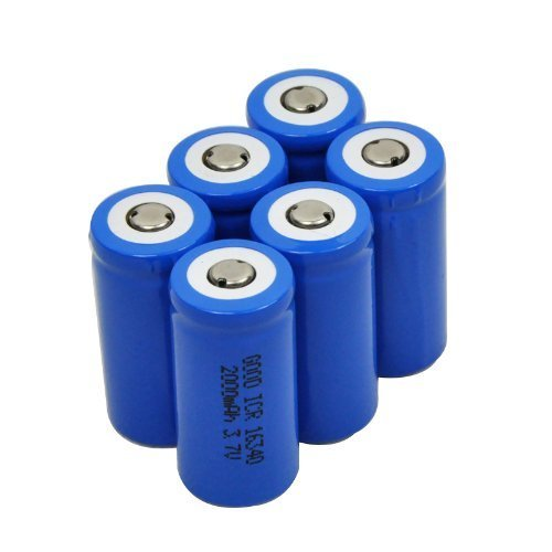 6 X 2000mah 3.7v Cr123a 123a 16340 Rechargeable Battery