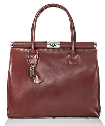 azzesso - Italienische Leder Henkeltasche Monaco in haselnuß braun, Echtleder, die Tasche vom italienischem Mode Profi, Handtasche 34x26 cm