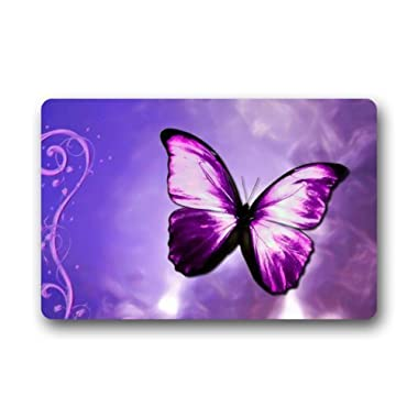 Purple Butterfly Art Doormats Entrance Mat Floor Mat Door Mat Rug Indoor/Outdoor/Front Door/Bathroom Mats Rubber Non Slip (23.6 x15.7 ,L x W)