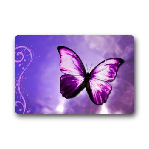Purple Butterfly Art Doormats Entrance Mat Floor Mat Door Mat Rug Indoor/Outdoor/Front Door/Bathroom Mats Rubber Non Slip (23.6