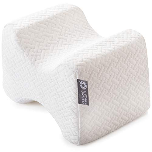 (Knee Pillow for Side Sleepers - 100% Memory Foam Wedge Contour - Leg Pillows for Sleeping - Spacer Cushion for Spine Alignment, Back Pain, Pregnancy Support - Sciatica, Hip, Joint, Surgery Pain Relief)
