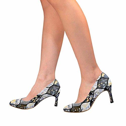 InterestPrint Womens Classic Fashion High Heel Dress Pump Patchwork Pattern With Flowers and Butterflies bPKynd