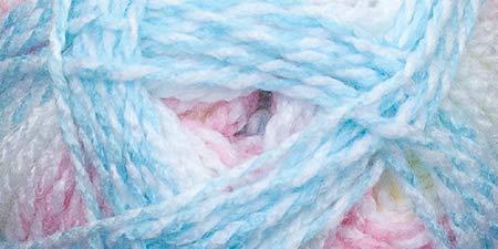 Mary Maxim Sugar Baby Stripes Yarn, Cotton Candy, Brown
