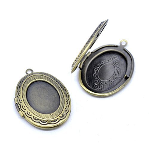 Housweety 5 Bronze Tone Photo Oval Locket Frame Pendants 34x24mm - Frame Photo Art Heart Charm