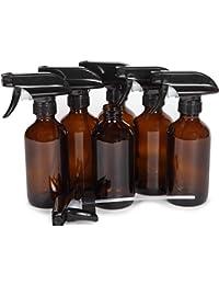 6, Large, 8 oz, Empty, Amber Glass Spray Bottles with Black Trigger Sprayers
