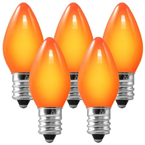 C7 - Ceramic Amber-Orange - 5 Watt - Candelabra Base - Christmas Lights - 25 Pack