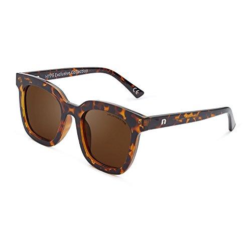 Gafas Hombre de Exclusiva sol Hype CLANDESTINE amp; Polarizadas Mujer Habana Colección Quadrato Gatto amp; Marrón Quadrato qF00t4A