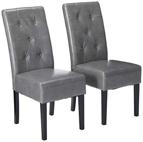 - Christopher Knight Home 214519 Alexander Grey Leather Dining Chairs (Set of 2),