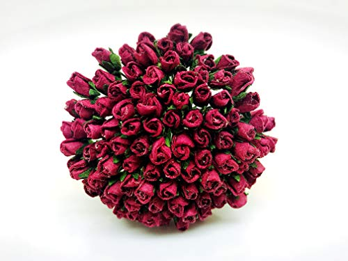 Thai Mulberry - Tyga_Thai Brand 100 pcs. Burgundy Color Rose Buds Mulberry Paper Flower Craft Handmade Wedding 5 mm. Scrapbook for so Many Card & Craft Projects CMR2-1#104 (MULBERRY-PAPAER-ROSE-5MM)