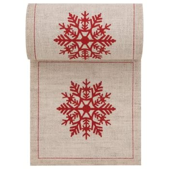 Linen Printed Cocktail Napkin - 4.3 x 4.3 in - 50 units per roll - Natural with Red Snowflake