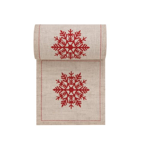 (Linen Printed Cocktail Napkin - 4.3 x 4.3 in - 50 units per roll - Natural with Red Snowflake)
