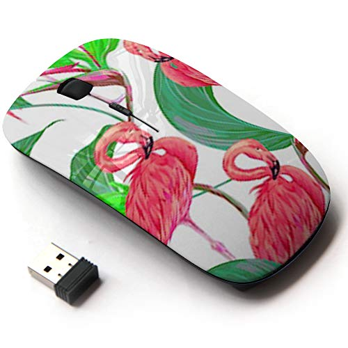 Ergonomic Optical 2.4G Wireless Mouse - Pink Flamingos Tropical Flowers Jungle ()