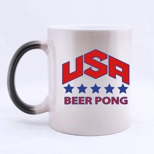 Lneng Fashion Cool USA Beer Pong Five Stars (Twin Side) Magic Surprise Mug Changing Black and White Morphing Mug (11 Oz)