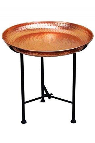 Oriental Moroccan Arabian Brass Folding Coffee Tea Side Table with Tray - Mia 40cm - (copper) am-50003-k